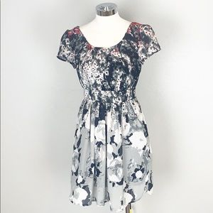 UO Kimchee Blue Black and Hot Pink Floral Dress
